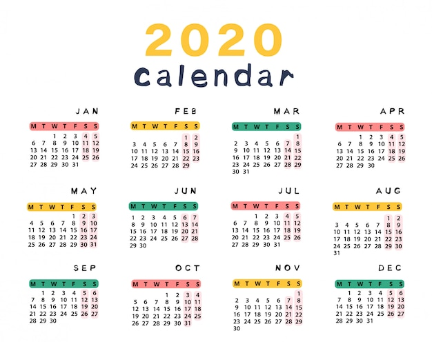 Calendario 2020 Más De 100 Plantillas Para Descargar E Imprimir