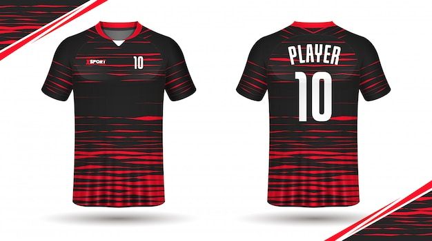 Diseño de camiseta deportiva de plantilla de camiseta de fútbol Vector Premium