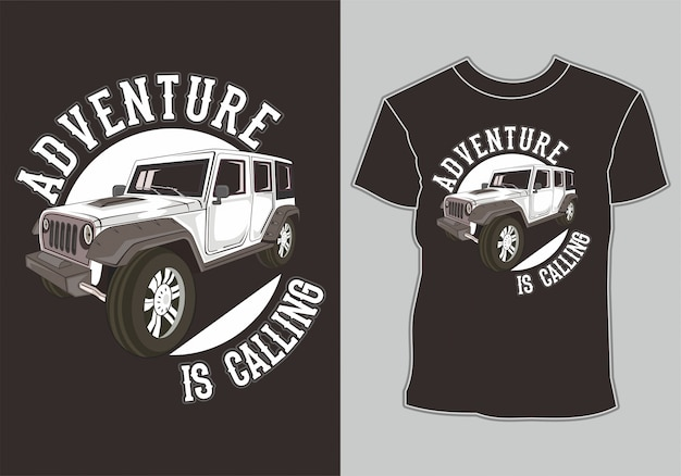Diseño de camiseta jeep off road 4x4 Vector Premium