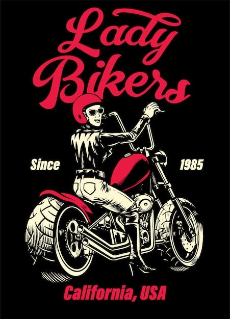 Diseño de camiseta de moto lady biker chopper Vector Premium