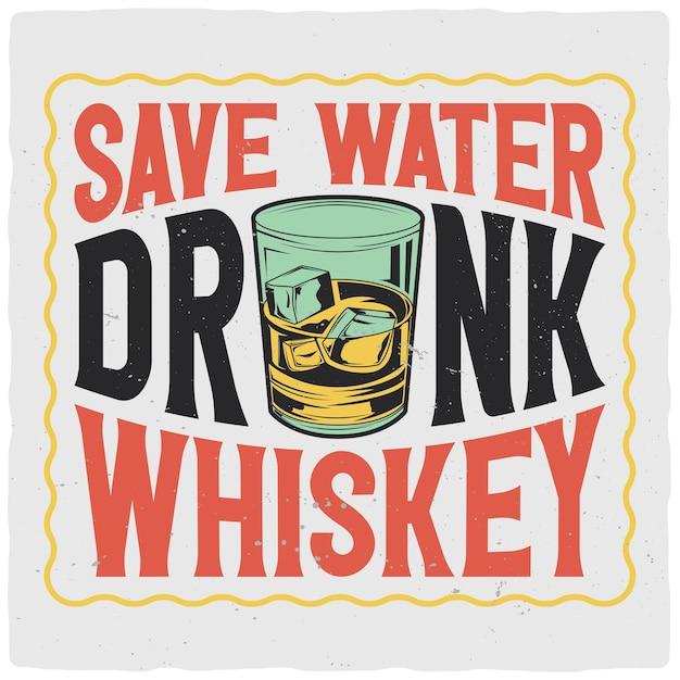 Diseño de camiseta o cartel con ilustración de vaso de whisky Vector Premium