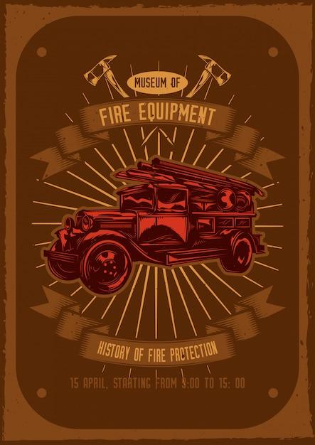 Diseño de camiseta o póster con ilustración de camión de bomberos con ejes. vector gratuito