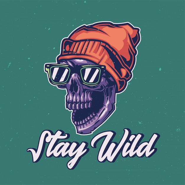 Diseño de camiseta o póster con ilustración de un cráneo salvaje. vector gratuito