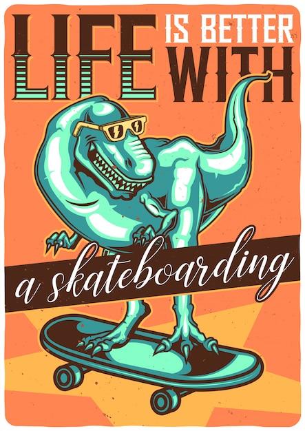 Diseño de camiseta o póster con ilustración de dino en patineta. vector gratuito