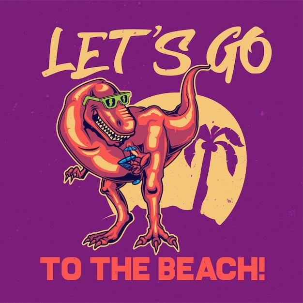 Diseño de camiseta o póster con ilustración de dinosaurio. vector gratuito