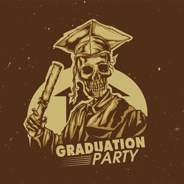 Diseño de camiseta o póster con ilustración de graduación de esqueleto vector gratuito