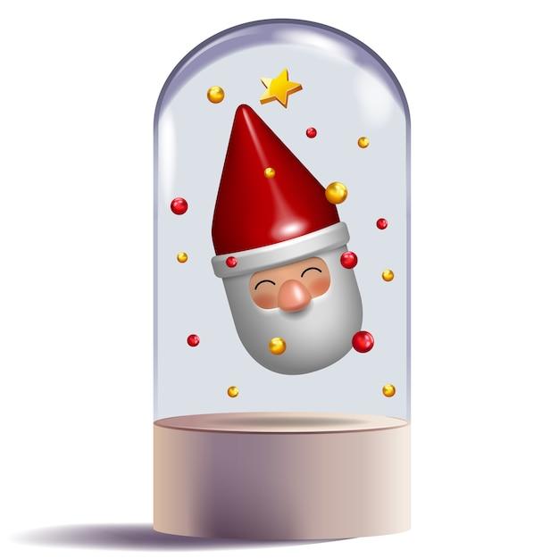 Diseño de carácter del regalo del juguete de papá noel 3d en la bóveda de cristal decorativa Vector Premium