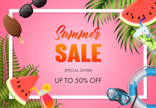 Diseño de cartel brillante de venta de verano. aros salvavidas, sandía vector gratuito