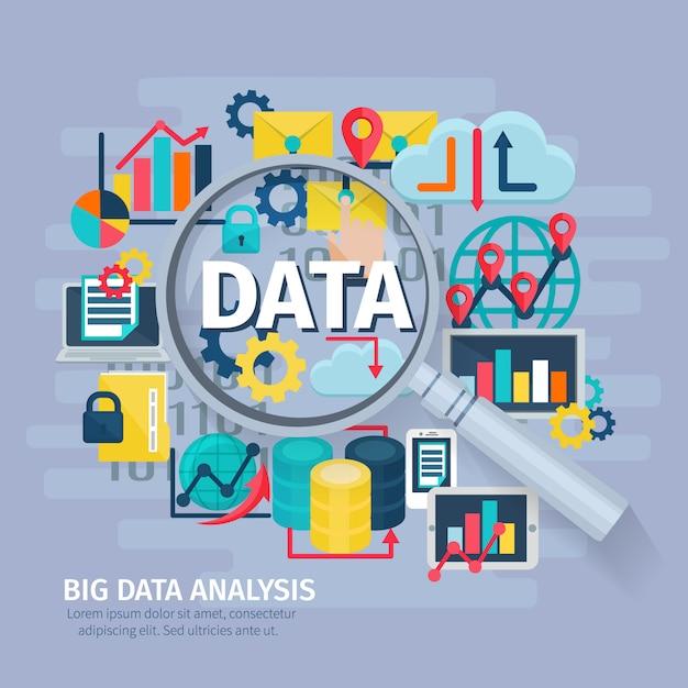 Diseño de cartel conceptual de big data analytics iconos planos composición con lupa de mano vector gratuito