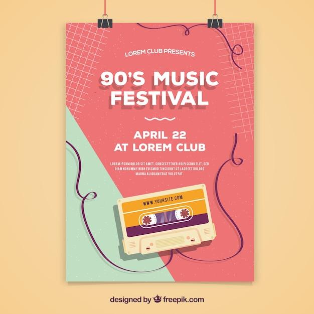 Diseño de cartel para festival de música de los 90 vector gratuito