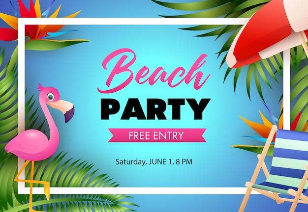 Diseño de cartel de fiesta en la playa. flamenco rosa, silla de playa. vector gratuito