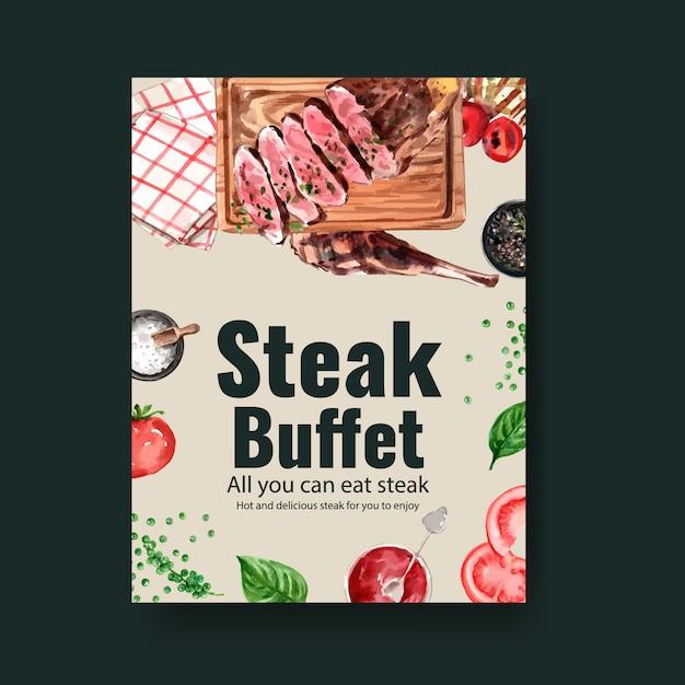 Diseño de cartel de filete con servilletas, filete de ternera ilustración acuarela. vector gratuito