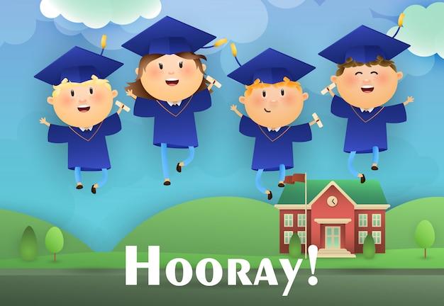 Diseño de cartel de graduación hooray vector gratuito