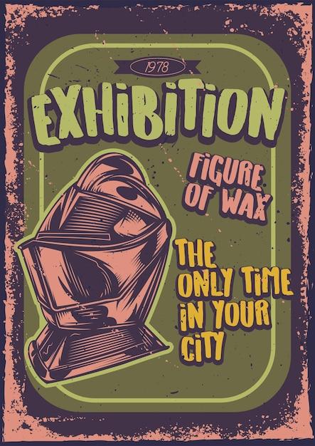 Diseño de cartel con ilustración de un caballero. vector gratuito