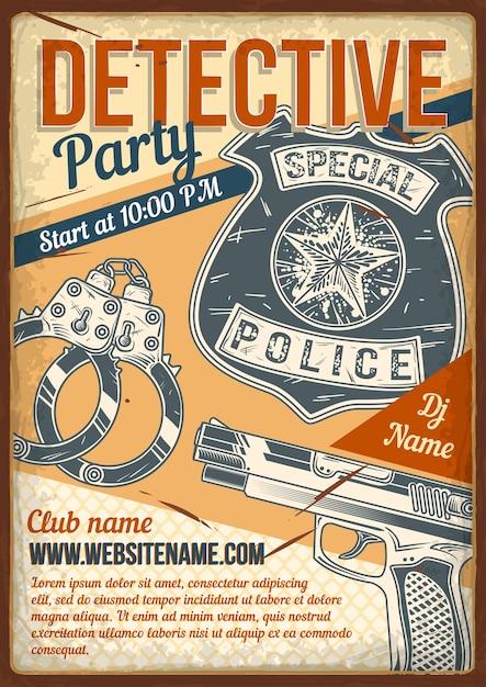 Diseño de cartel publicitario con ilustración de esposas de detective. vector gratuito