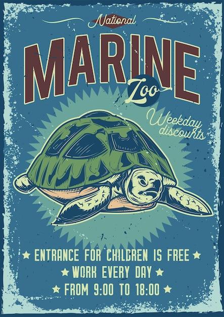Diseño de cartel publicitario con ilustración de tortuga vector gratuito