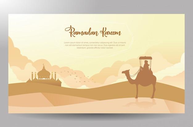 Diseño del cartel de ramadan kareem temático del viajero del desierto Vector Premium