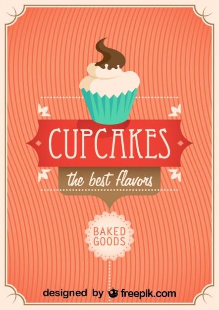 Diseño de cartel retro con cupcakes vector gratuito