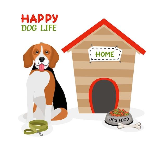 Diseño de cartel de vector happy dog life con un lindo beagle con la lengua afuera sentado frente a una caseta de perro con un hueso de plomo y un plato de comida vector gratuito