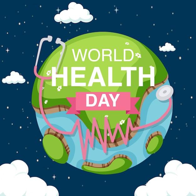 Diseno De Carteles Para El Dia Mundial De La Salud Con Fondo De Tierra En El Cielo Vector Gratis