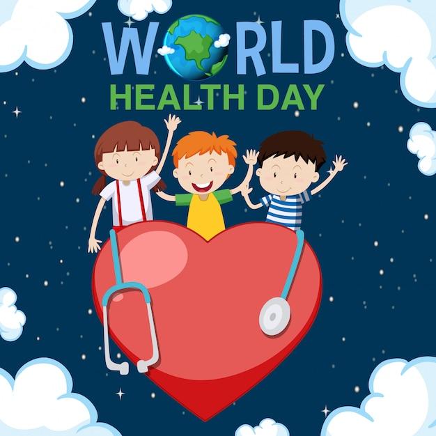Diseño De Carteles Para El Día Mundial De La Salud Con Niños Felices En Segundo Plano Vector Gratis