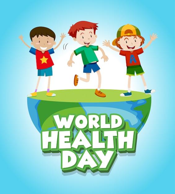 Diseño De Carteles Para El Día Mundial De La Salud Con Niños Felices Vector Gratis