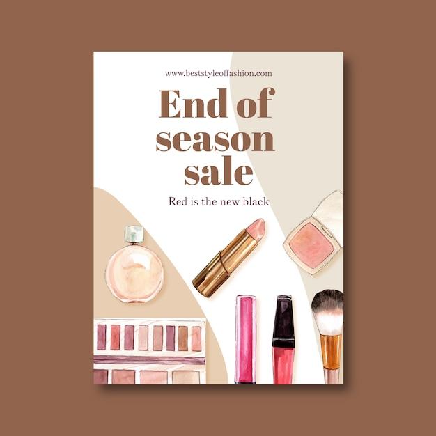 Diseño de carteles de moda con ilustración acuarela de cosméticos. vector gratuito