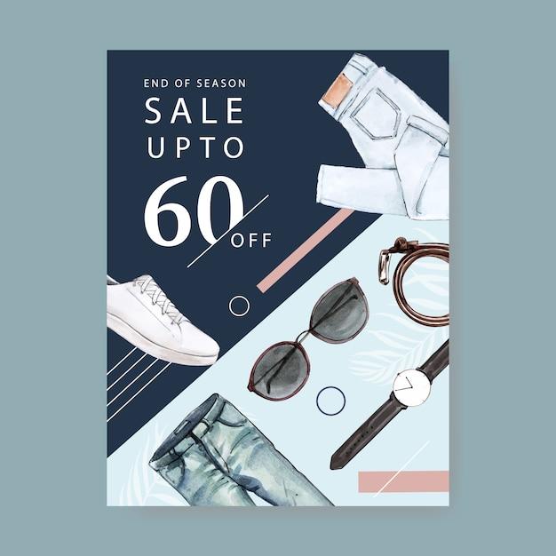 Diseño de carteles de moda con jeans, reloj, cinturón, gafas de sol, zapatos ilustración acuarela. vector gratuito