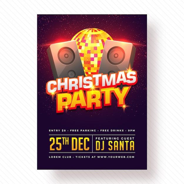 Diseño de carteles, pancartas o volantes de fiesta de celebración de navidad. Vector Premium