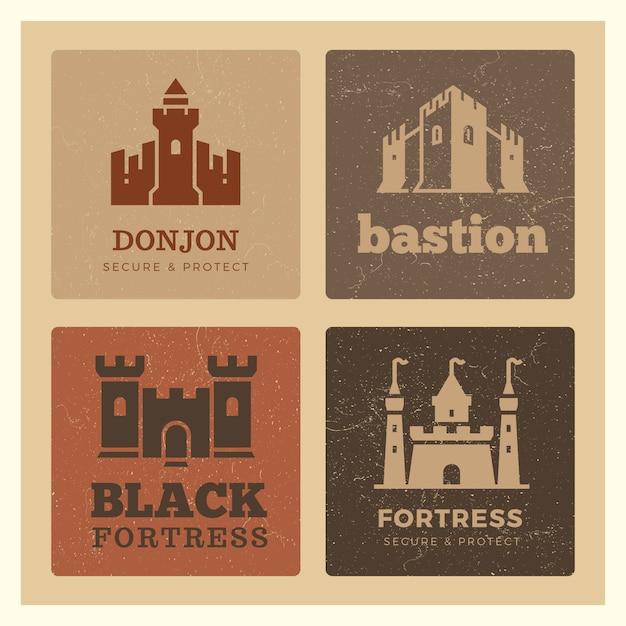 Diseño de castillos, fortalezas, baluarte. Vector Premium
