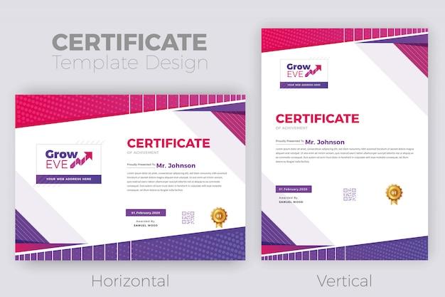Diseño de certificado psd Vector Premium