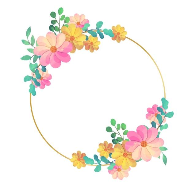 Diseño circular de marco floral de boda vector gratuito