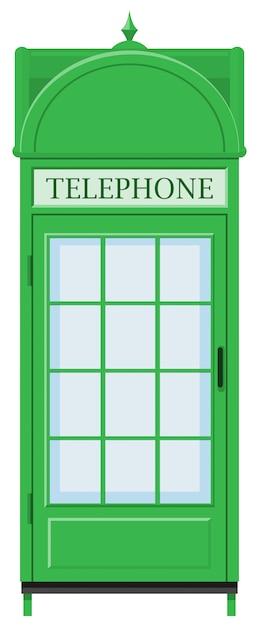 Diseño clásico de cabina telefónica en color verde. vector gratuito