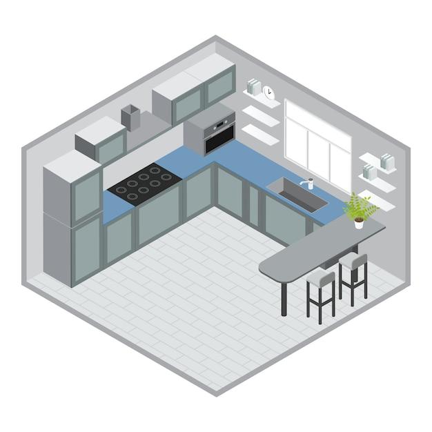 Diseño de cocina isométrica con gabinetes azules grises, microondas, barra, taburetes, ventana, piso de baldosas, reloj, ilustración vectorial vector gratuito