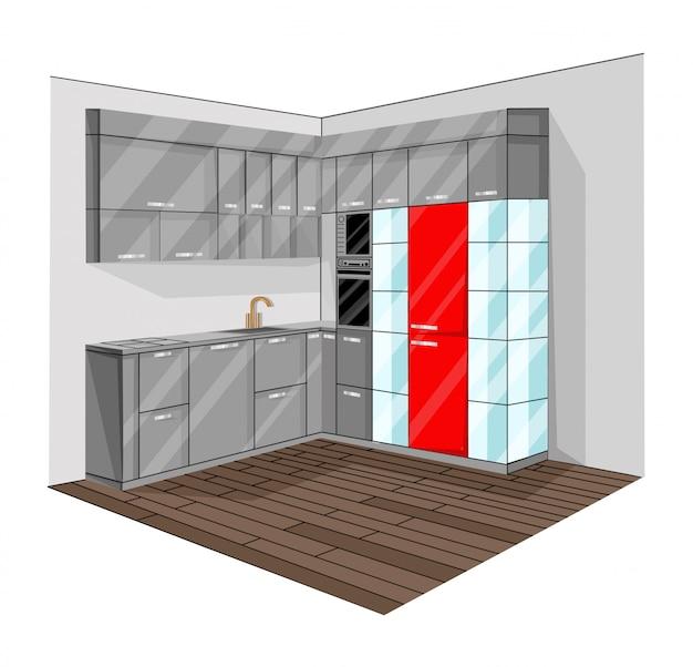 Diseño de cocina Vector Premium