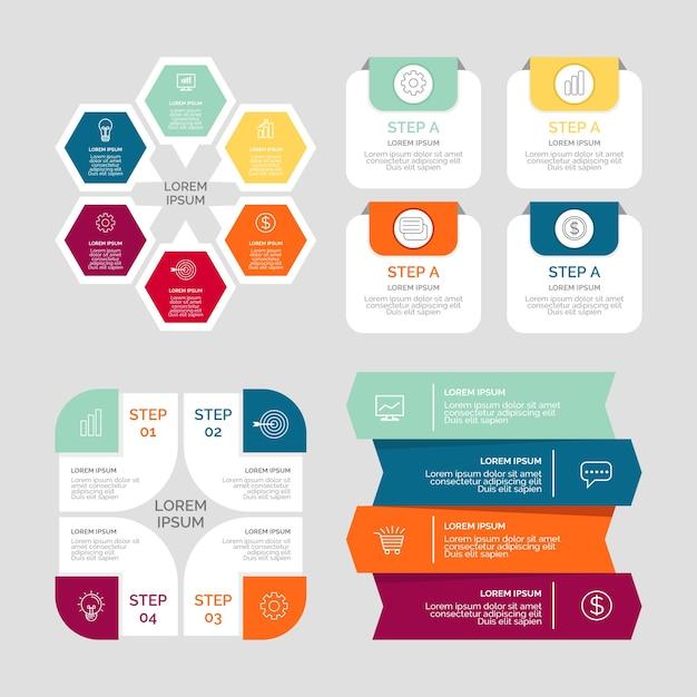 Diseño de colección de elementos de infografía. Vector Premium