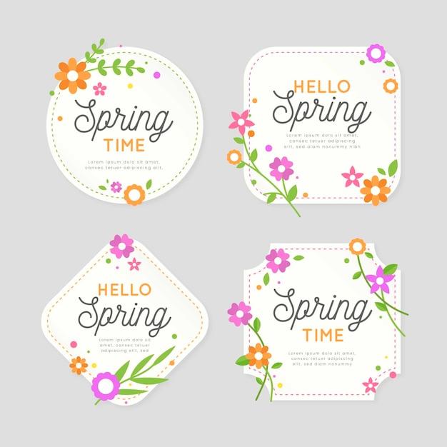 Diseño de colección de etiquetas de primavera de diseño plano vector gratuito
