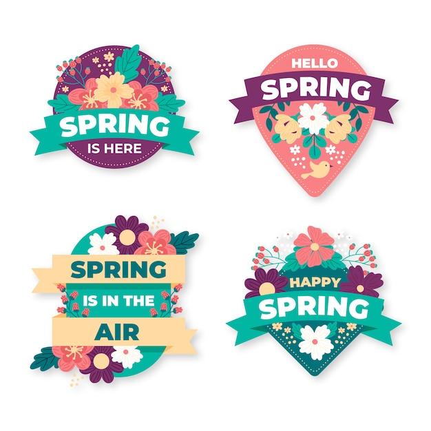 Diseño de colección de etiquetas de primavera vector gratuito