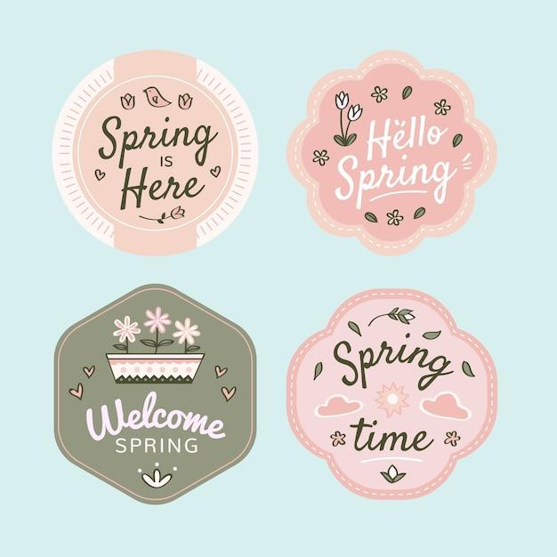 Diseño de colección de insignias de primavera dibujado a mano. Vector Premium