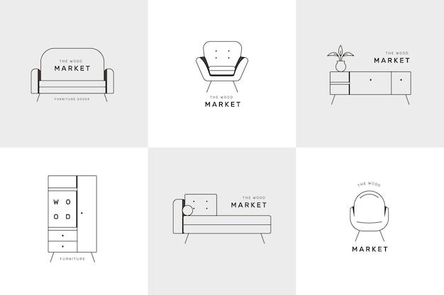 Diseño de colección de logotipos de muebles Vector Premium