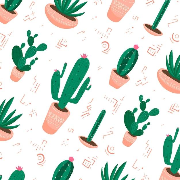 Diseño de colección de patrones de cactus vector gratuito