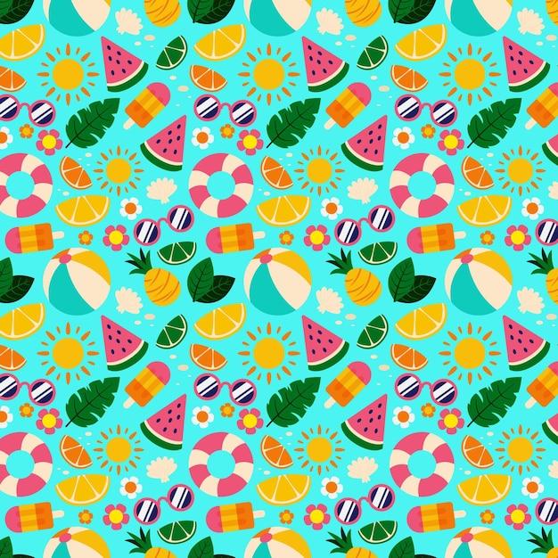 Diseño de colección de patrones de verano vector gratuito