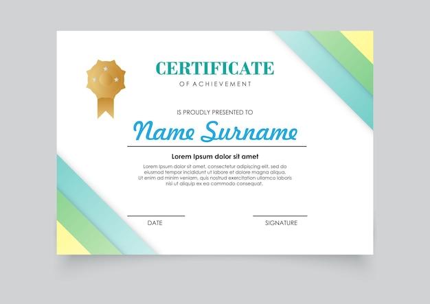 Diseño de color degradados de plantilla de certificado moderno. fácil de imprimir. Vector Premium