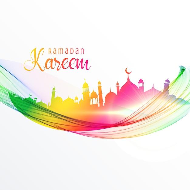 Diseño colorido de mezquita con onda para la temporada de ramadán kareem Vector Gratis