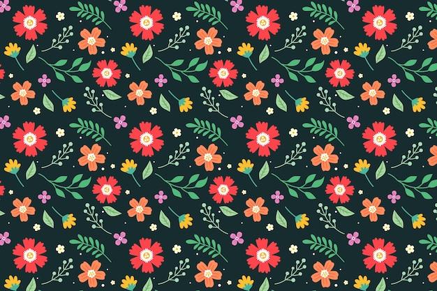 Diseño colorido del fondo del estampado de flores ditsy vector gratuito
