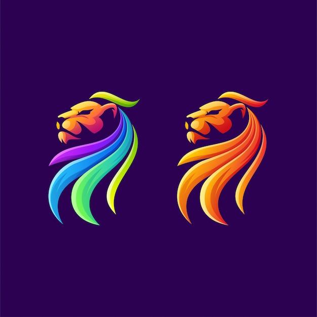 Diseño colorido del logotipo del león Vector Premium