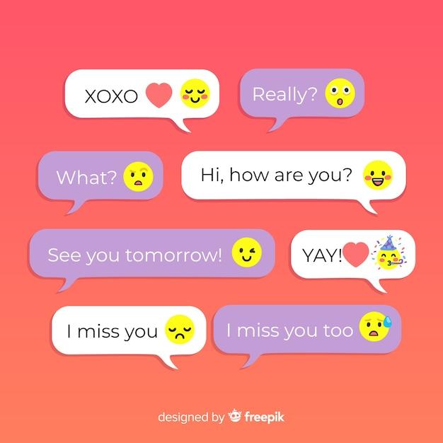 Diseño colorido para mensajes con conjunto de emojis vector gratuito