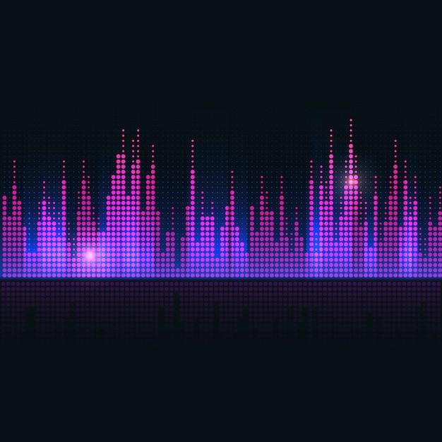 Diseño colorido del vector del equalizador de la onda acústica vector gratuito