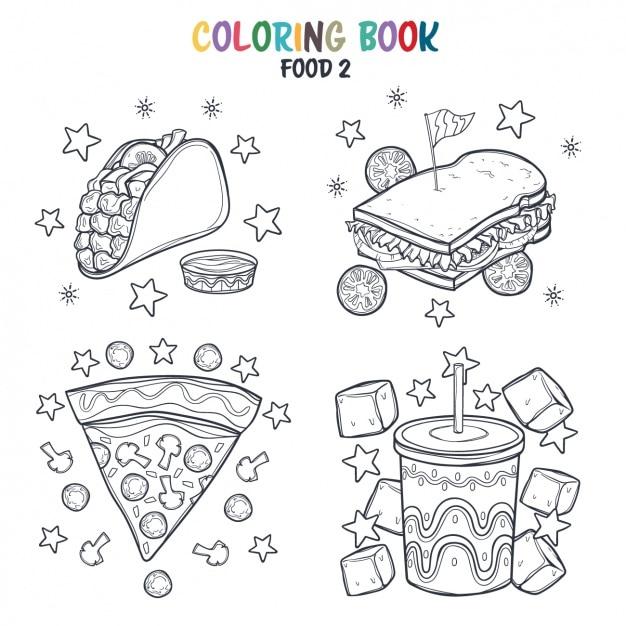 Diseño de comida rápida para colorear  f3d22f285ab