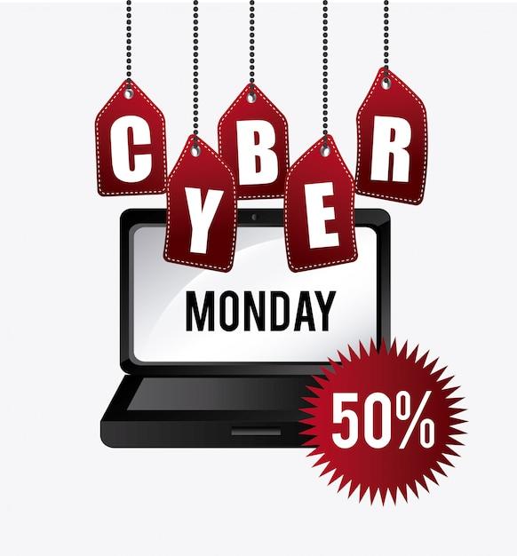 Diseño de compras cyber lunes. vector gratuito